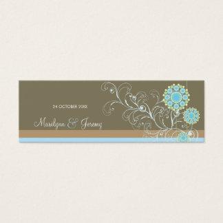 Cartão De Visitas Mini Redemoinhos azuis da flor da neve que Wedding o