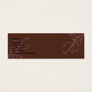 Cartão De Visitas Mini Redemoinhos de Brown e de rosa com parte traseira