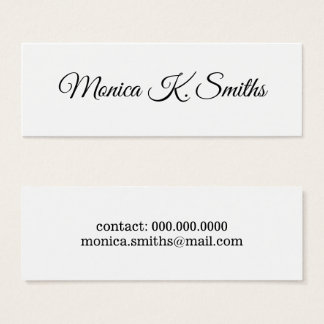 Cartão De Visitas Mini roteiro-pia-estilo minimalista elegante & moderno