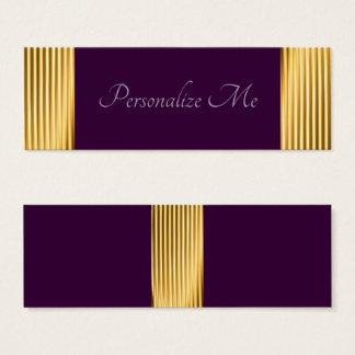 Cartão De Visitas Mini Roxo à moda legal elegante/design unisex do ouro