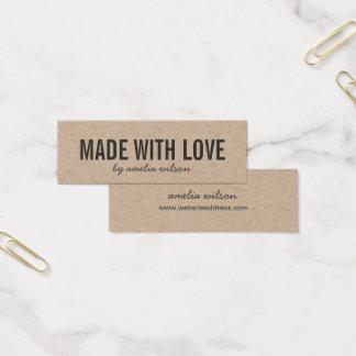 Cartão De Visitas Mini Rústico à moda simples feito com amor Kraft