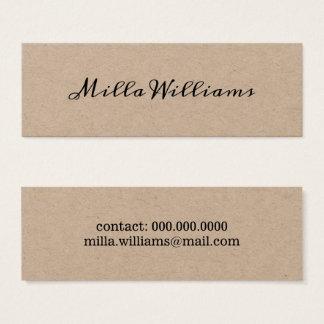 Cartão De Visitas Mini rústico elegante minimalista do roteiro-pia-estilo