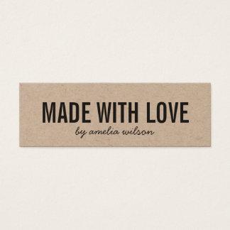 Cartão De Visitas Mini Rústico feito com meios do Social de Kraft do amor