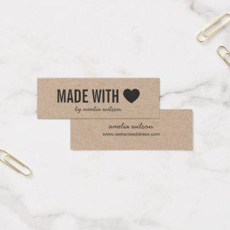 Cartão De Visitas Mini Rústico simples do coração feito com amor Kraft