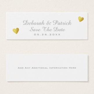 Cartão De Visitas Mini salvar o inserção-cartão da data. branco wedding