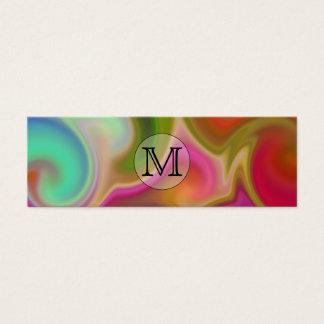 Cartão De Visitas Mini Seus letra, redemoinhos coloridos e monograma
