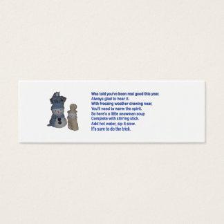 Cartão De Visitas Mini Sopa do boneco de neve