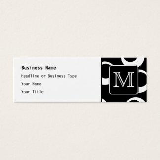 Cartão De Visitas Mini Sua letra. Monograma preto e branco. Teste padrão
