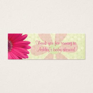 Cartão De Visitas Mini Tag cor-de-rosa do favor do chá de fraldas da