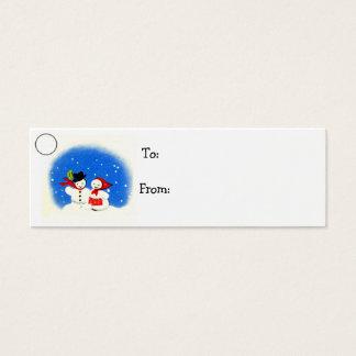 Cartão De Visitas Mini Tag do presente de época natalícia do Natal do