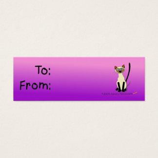 Cartão De Visitas Mini Tag do presente do gato Siamese (rosa e roxo)