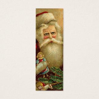 Cartão De Visitas Mini Tag do presente do Natal do papai noel do vintage