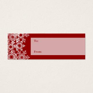 Cartão De Visitas Mini Tag do presente do Natal dos flocos de neve