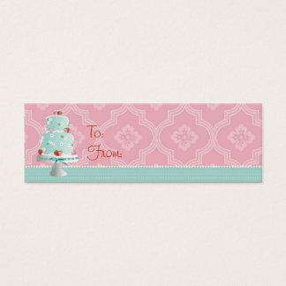 Cartão De Visitas Mini Tag magro do presente do bolo da morango