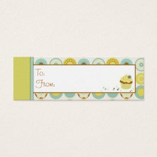 Cartão De Visitas Mini Tag magro retro doce do presente