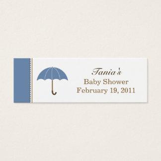 Cartão De Visitas Mini Tag pequeno azul do guarda-chuva