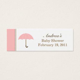 Cartão De Visitas Mini Tag pequeno cor-de-rosa do guarda-chuva