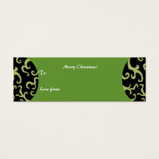Cartão De Visitas Mini Tag preto e verde do desenhista do presente