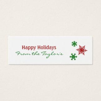 Cartão De Visitas Mini Tag verdes vermelhos clássicos do presente de