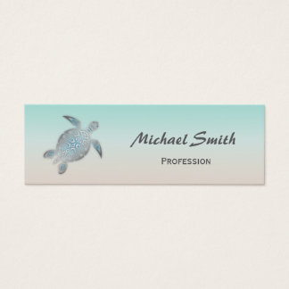 Cartão De Visitas Mini Tartaruga de mar de prata