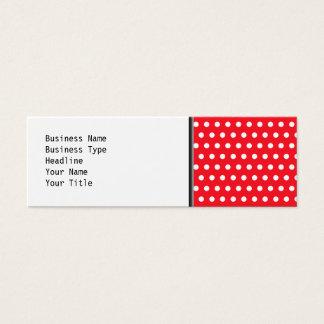 Cartão De Visitas Mini Teste padrão de bolinhas vermelho e branco.