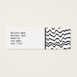 Cartão De Visitas Mini Teste padrão de ondas branco e preto