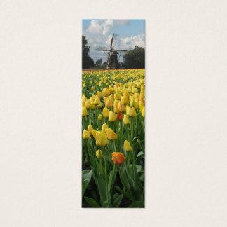 Cartão De Visitas Mini Tulipas e moinho de vento do primavera