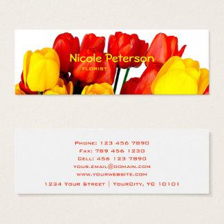 Cartão De Visitas Mini tulipas vermelhas e amarelas - florista