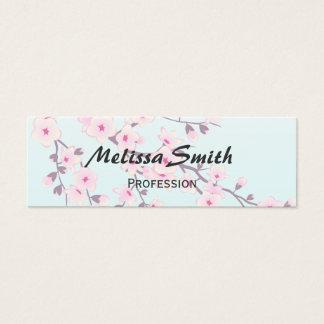 Cartão De Visitas Mini Turquesa cor-de-rosa das flores de cerejeira