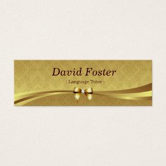 Cartão De Visitas Mini Tutor da língua estrangeira - damasco brilhante do