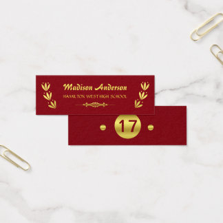 Cartão De Visitas Mini Vermelho do ouro da inserção do último ano do