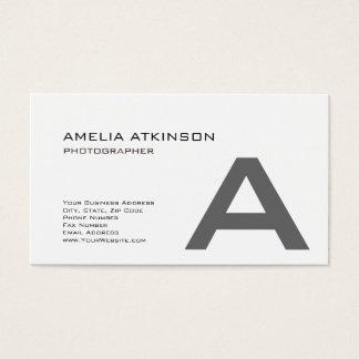 Cartão De Visitas Minimalista branco preto moderno do monograma
