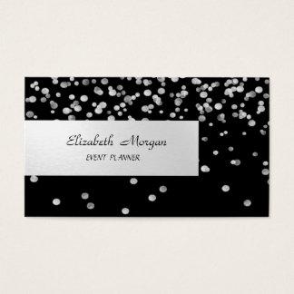 Cartão De Visitas Minimalista elegante, listrado, preto, confetes
