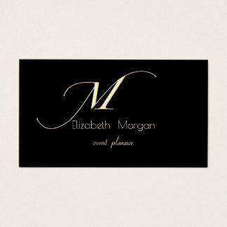 Cartão De Visitas Minimalista elegante, simples, preto, monograma