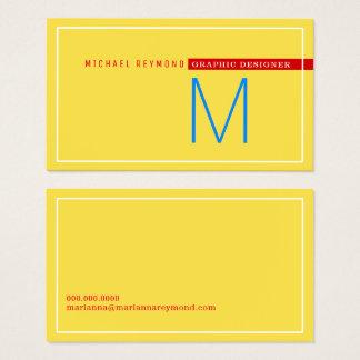Cartão De Visitas minimalista & moderno, amarelo do designer gráfico