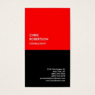 Cartão De Visitas Minimalista moderno preto vermelho especial