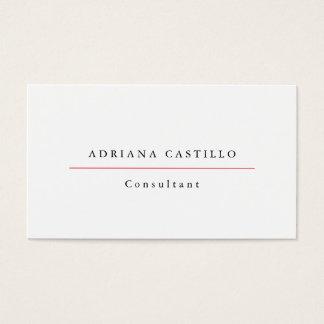 Cartão De Visitas Minimalista profissional branco simples liso na