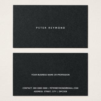 Cartão De Visitas mínimo do preto minimalista do estilo