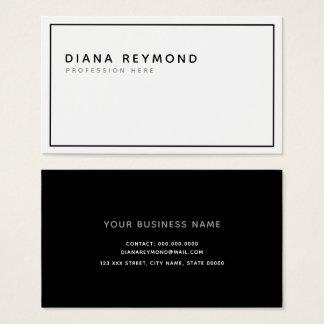 Cartão De Visitas mínimo profissional moderno simples preto e branco
