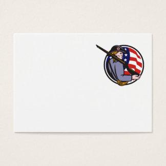 Cartão De Visitas Minuteman americano do patriota com rifle e