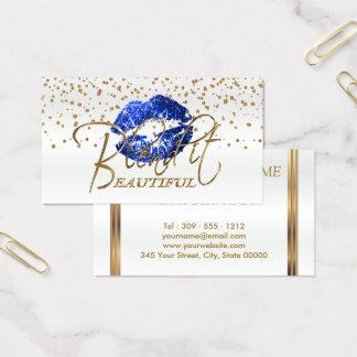Cartão De Visitas Misture-o os confetes bonitos do ouro & os lábios