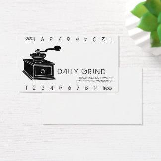 Cartão De Visitas Moagem Punchard do moedor de café
