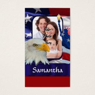 Cartão De Visitas Modelo americano patriótico da foto