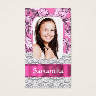 Cartão De Visitas Modelo cor-de-rosa feminino da foto do laço
