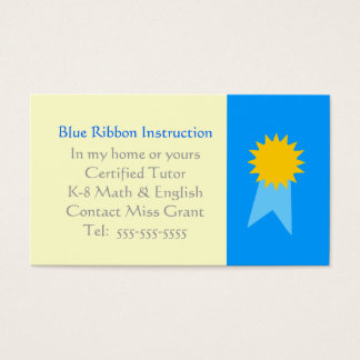 Cartão De Visitas Modelo da fita azul do tutor da escola primária