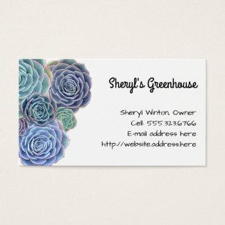 Cartão De Visitas Modelo do costume dos Succulents do verde azul
