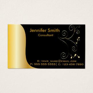 Cartão De Visitas Modelo elegante preto do ouro