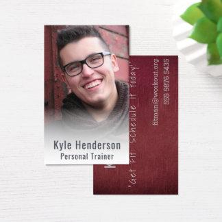 Cartão De Visitas Modelo enevoado da foto do instrutor pessoal da