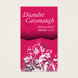 Cartão De Visitas Modelo floral do maquilhador do Grunge da
