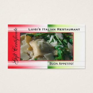 Cartão De Visitas Modelo italiano do certificado de presente do
